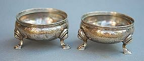 Pair of American Silver Salt Cellars, Boston, Ca. 1840