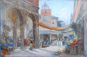Middle Eastern Outdoor Market A Cityscape by Walter Francis Brown