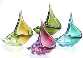 Murano BARBINI Sommerso 1950s Seashell Sculptures
