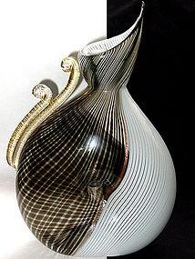 RARE Murano DINO MARTENS Mezza Filigrana FORATO Vase