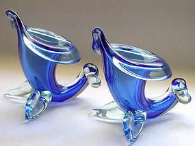 Murano SEGUSO Cobalt Blue Cornucopia Vases Set of 2