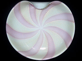 Murano BARBINI PINK Gold Flecks CIRCUS TENT Center Bowl