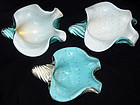 Murano BARBINI BLUE Gold Flecks CONCH Shell Sculptures