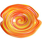 Murano TOSO Psychedelic YELLOW RED Swirl OPAL Bowl