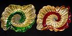 Murano BAROVIER TOSO Gold Flecks STRIPE Bowls
