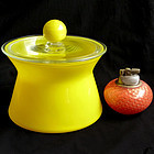 Murano TOSO YELLOW Covered Decanter Jar + Label