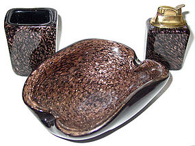 Murano TOSO Black AVENTURINE Flecks Ashtray Set