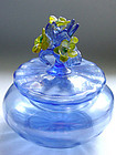 Murano DECO Iridescent BLUE Yellow Flowers Powder Box