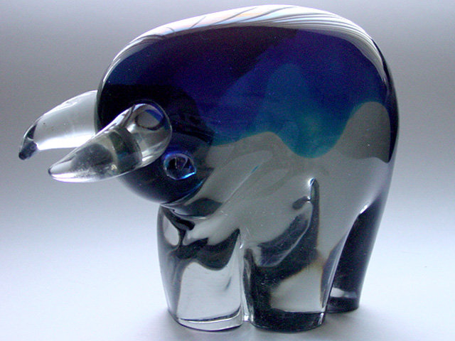 Murano SALVIATI GASPARI Large BLUE BULL Sculpture