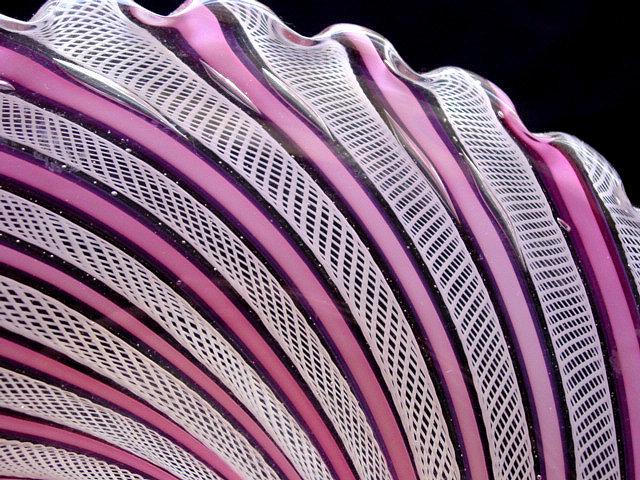 Murano TOSO Pink White ZANFIRICO Ribbons Center Bowl