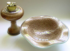 Murano BARBINI 50s AVENTURINE Flecks Bowl Lighter Set