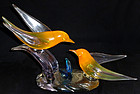 Murano LIVIO SEGUSO Orange Vaseline Bird Sculpture