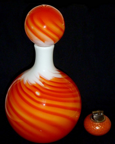 HUGE Murano ORANGE FLAME Guildcraft BALL Decanter Vase