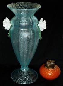 Murano FERRO TOSO BAROVIER Silver Flecks Flower Vase
