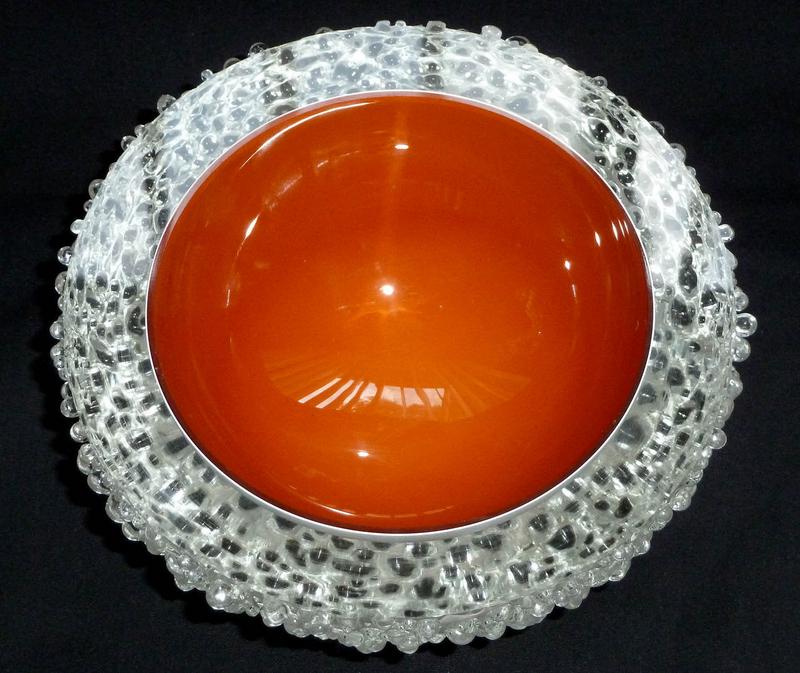 Murano ORANGE White OVERSHOT 2 Position GEODE Bowl