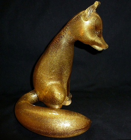 RARE Murano SEGUSO Amber Gold Flecks FOX Sculpture