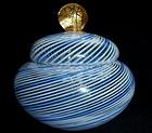 Murano MARTENS Filigrana Blue GOLD FLECKS Powder Box