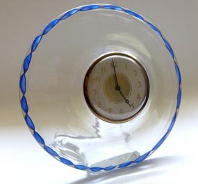 Murano SEGUSO Zanfirico Aventurine Ribbon Desk Clock