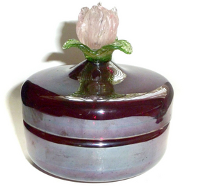 Early Murano Venetian IRIDESCENT Flower Top Powder Box
