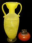 Murano ERMANNO NASON Gino Cenedese Yellow SCAVO Vase
