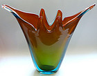 Murano SOMMERSO Red Orange Green Blue Sculptural Vase