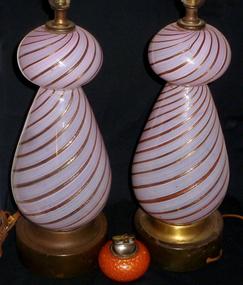 Murano DINO MARTENS Pink FILIGRANA Aventurine LAMP SET