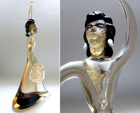 FLAVIO POLI Murano SOMMERSO Gold Flecks Woman + Basket