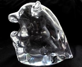 SEGUSO AV Murano SIGNED Crystal Clear HIPPO Sculpture