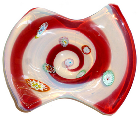 FRATELLI TOSO Murano OPAL Millefiori RED Optic Bowl