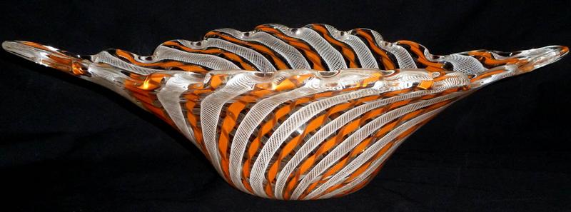 FRATELLI TOSO Murano ZANFIRICO Orange Centerpiece Bowl