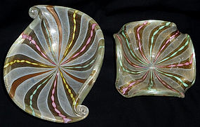 FRATELLI TOSO Murano ZANFIRICO Ribbon Shell Square Bowl