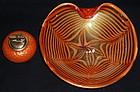 BAROVIER Murano GOLD FLECKS Red Orange Centerpiece Bowl