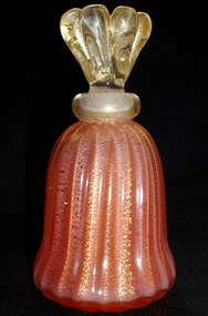 SEGUSO Murano 40s GOLD FLECKS Salmon Perfume Bottle