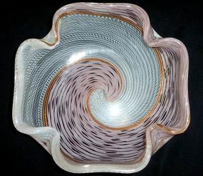 MARTENS TOSO Murano ZANFIRICO Pink White Ribbons Bowl