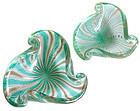 AVEM Murano SILVER AVENTURINE FLECKS Scroll Shell Bowls