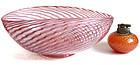 FRATELLI TOSO Murano PINK AVENTURINE FLECKS Ribbon Bowl