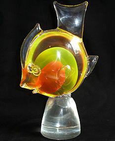 CENEDESE Murano SOMMERSO Yellow Orange FISH Sculpture