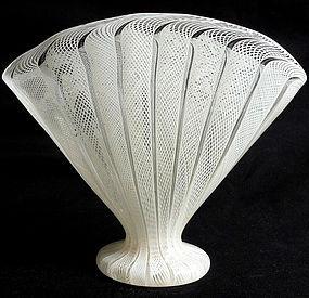 Murano White ZANFIRICO Net Ribbons FAN Shape Blown Vase