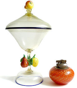 FRATELLI TOSO Murano ANTIQUE Applied FRUIT Jar Compote
