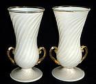 FERRO TOSO BAROVIER Murano GOLD FLECKS Matched Vases