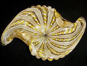 FRATELLI TOSO Murano YELLOW Gold Flecks Zanfirico Bowl