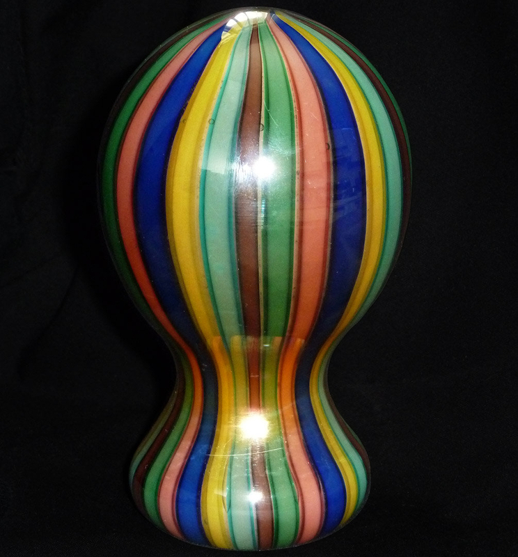 TOSO Murano A CANNE RAINBOW MIRROR Bullet Paperweight
