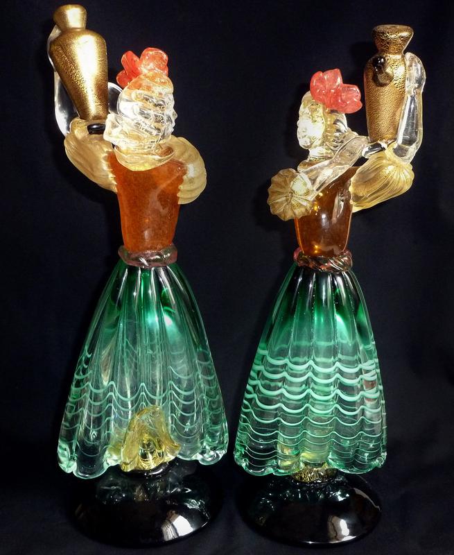 SALVIATI Murano Gold Fleck Wine Bearer Women Sculptures