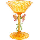 Antique VENETIAN Orange GOLD FLECKS Pink Flowers Glass