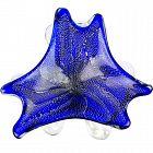 Vintage Murano Blue Silver Flecks Vintage Italian Art Glass Bowl