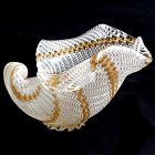 Dino Martens Murano 50s Ribbons Italian Art Glass Seashell Bowl