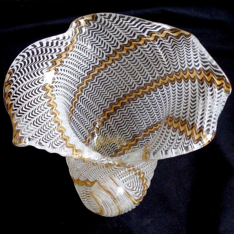 Dino Martens Murano 50s Ribbons Italian Art Glass Seashell Bowl