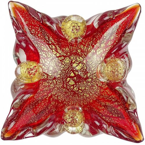 Barovier Toso Murano Vintage Red Gold Flecks Italian Art Glass Bowl
