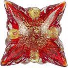 Barovier Toso Murano Vintage Red Gold Flecks Italian Art Glass Bowl