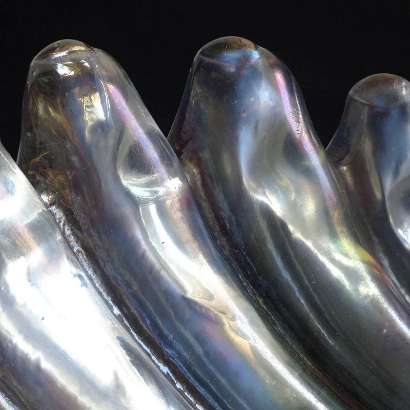 Barovier Murano Iridescent Italian Art Deco Glass Conch Seashell Bowl